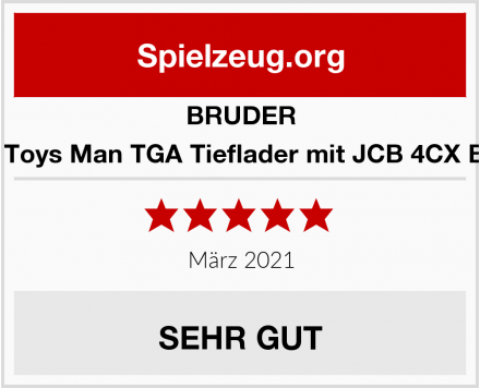 BRUDER 02776 4 CX Toys Man TGA Tieflader mit JCB 4CX Baggerlader Test