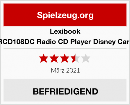 Lexibook RCD108DC Radio CD Player Disney Cars Test