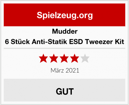 Mudder 6 Stück Anti-Statik ESD Tweezer Kit Test