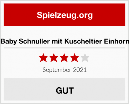 Baby Schnuller mit Kuscheltier Einhorn Test