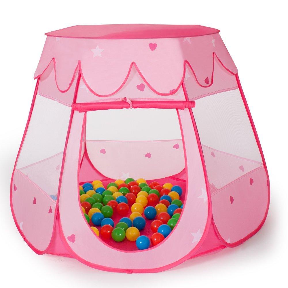 TecTake Pinkes Kinderspielzelt Pop Up mit Bällebad