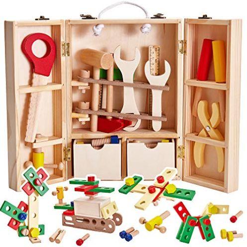 Buyger Holz-Werkzeugkoffer für Kinder