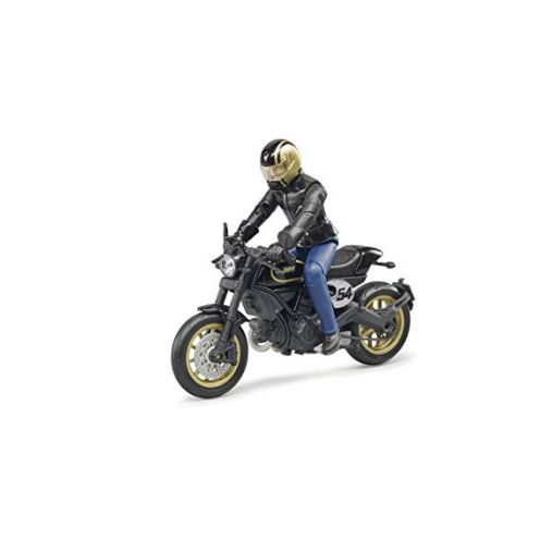 BRUDER 63050 Fahrzeug Scrambler Ducati Cafe Racer mit Fahrer