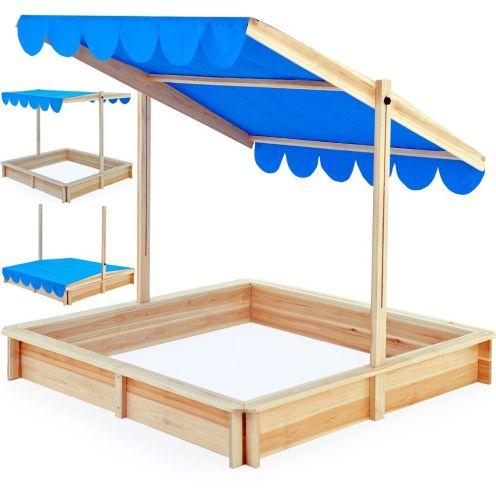 Deuba Sandkasten 120x120cm mit höhenverstellbarem und neigbarem Sonnendach