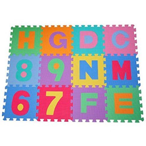 Homcom 36 Stück Puzzlematte Buchstaben und Zahlen
