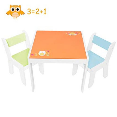 Labebe Kindertisch Holz Orange Eule