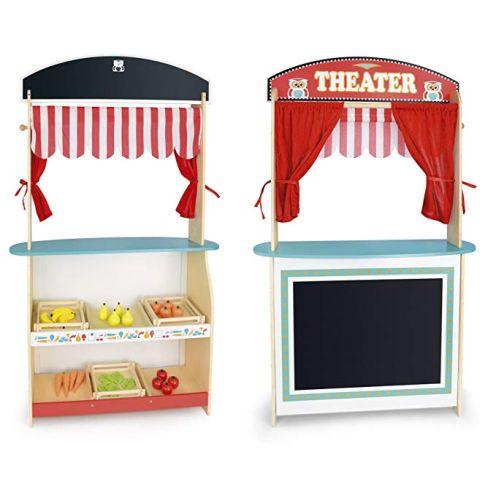 Leomark Spielzeug 2 in 1 Puppentheater und Supermarkt