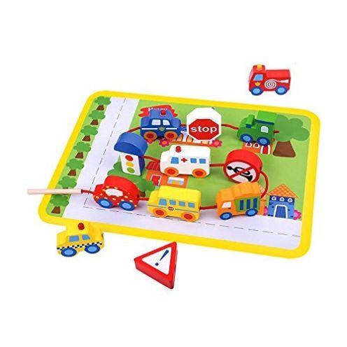Tooky Toy Fädelspiel aus Holz Straßenverkehr