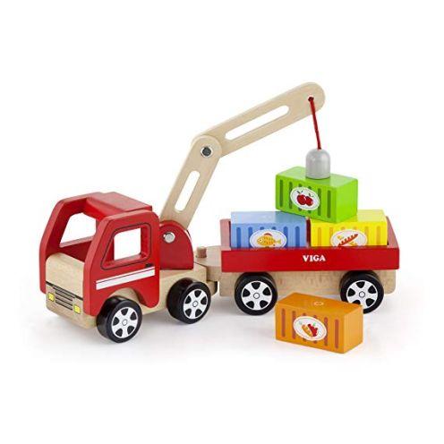VIGA 50690 - Spielset LKW mit Kran/Anhänger/Containern