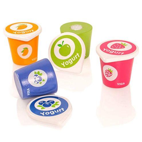 VIGA Set mit 4 Joghurt-Bechern & Deckeln aus Holz