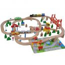 Woodtoys Holzeisenbahn De Luxe – 100 Teile mit Spielmatte